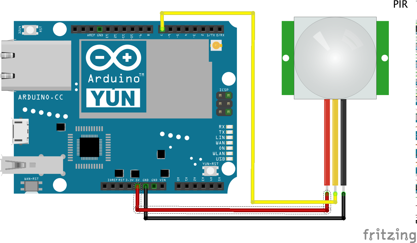 Push notification from arduino yún with motion sensor